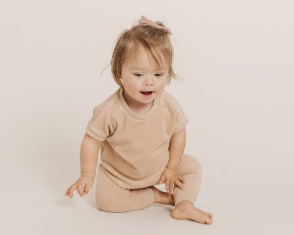 Quincy Mae Organic Cotton Terry Gemma Tee and Sweat in Petal