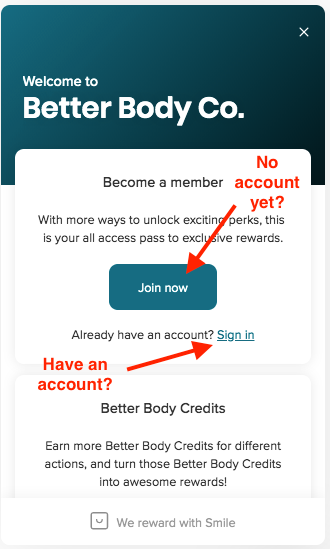 registering for Better Body Rewards