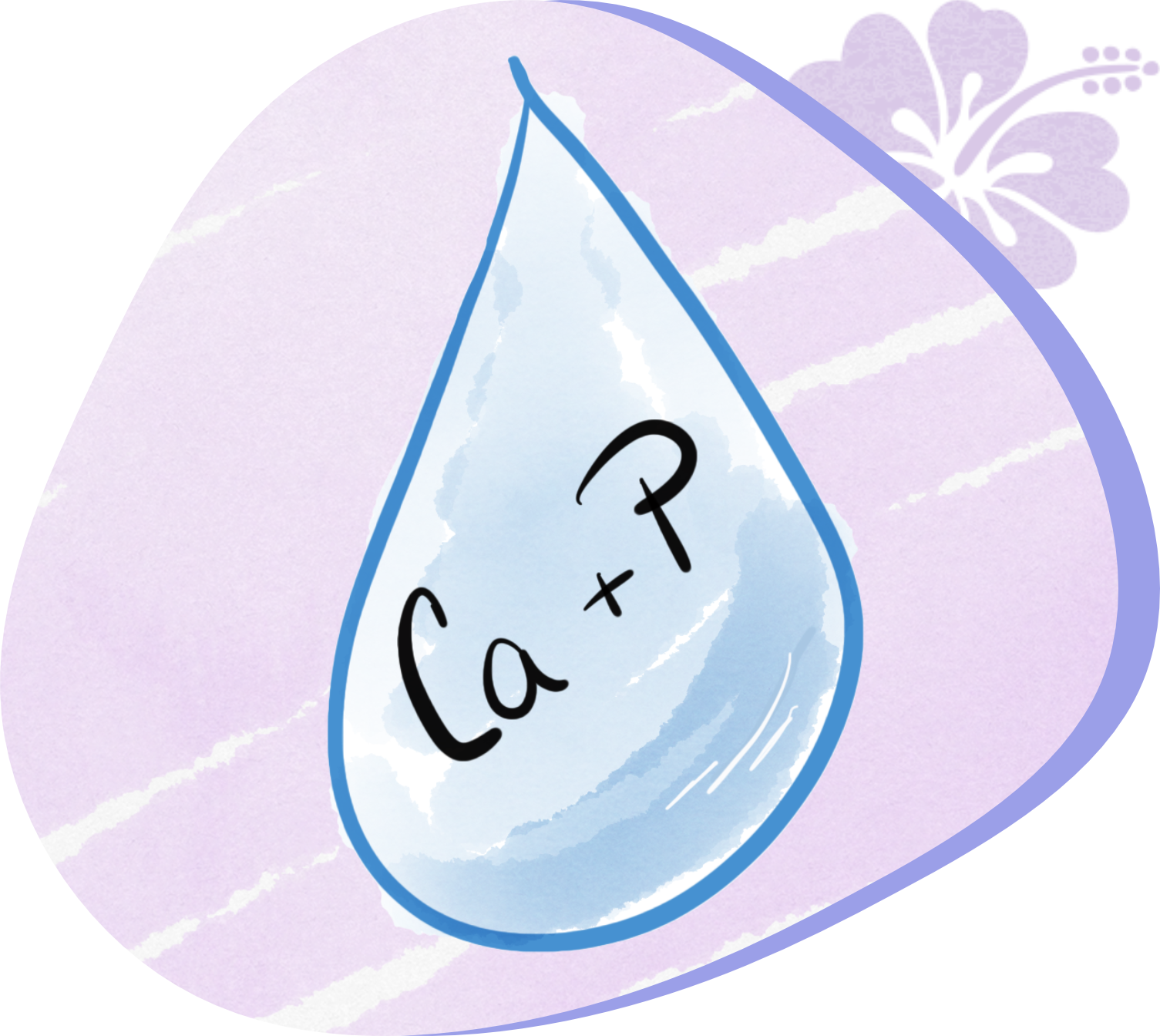 Saliva drop with Ca + P