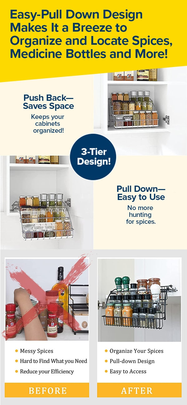 Easy Pull-Down & Space-Saving Design Makes It a Breeze to Organize & Locate Spices!