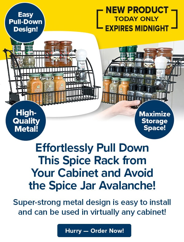 Effortlessly Pull Down This Spice Rack from Your Cabinet and Avoid the Spice Jar Avalanche!