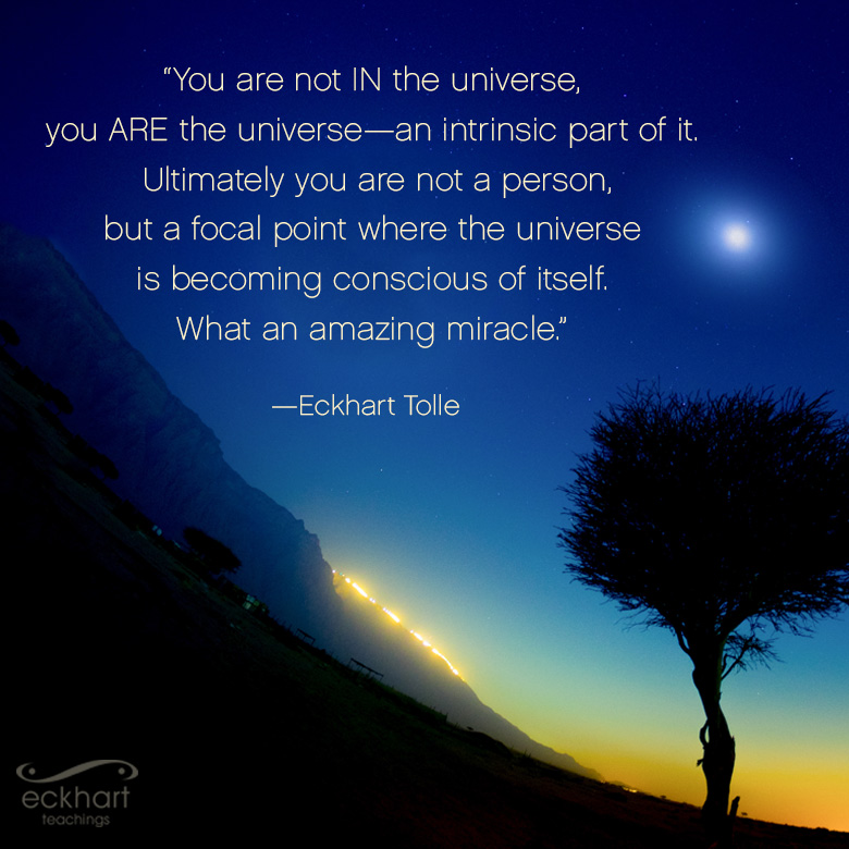 You are not IN the universe, you ARE the universe - an intrinsic part of it. Ultimately you are not a person, but a focal point where the universe is becoming conscious of itself. What an amazing miracle.