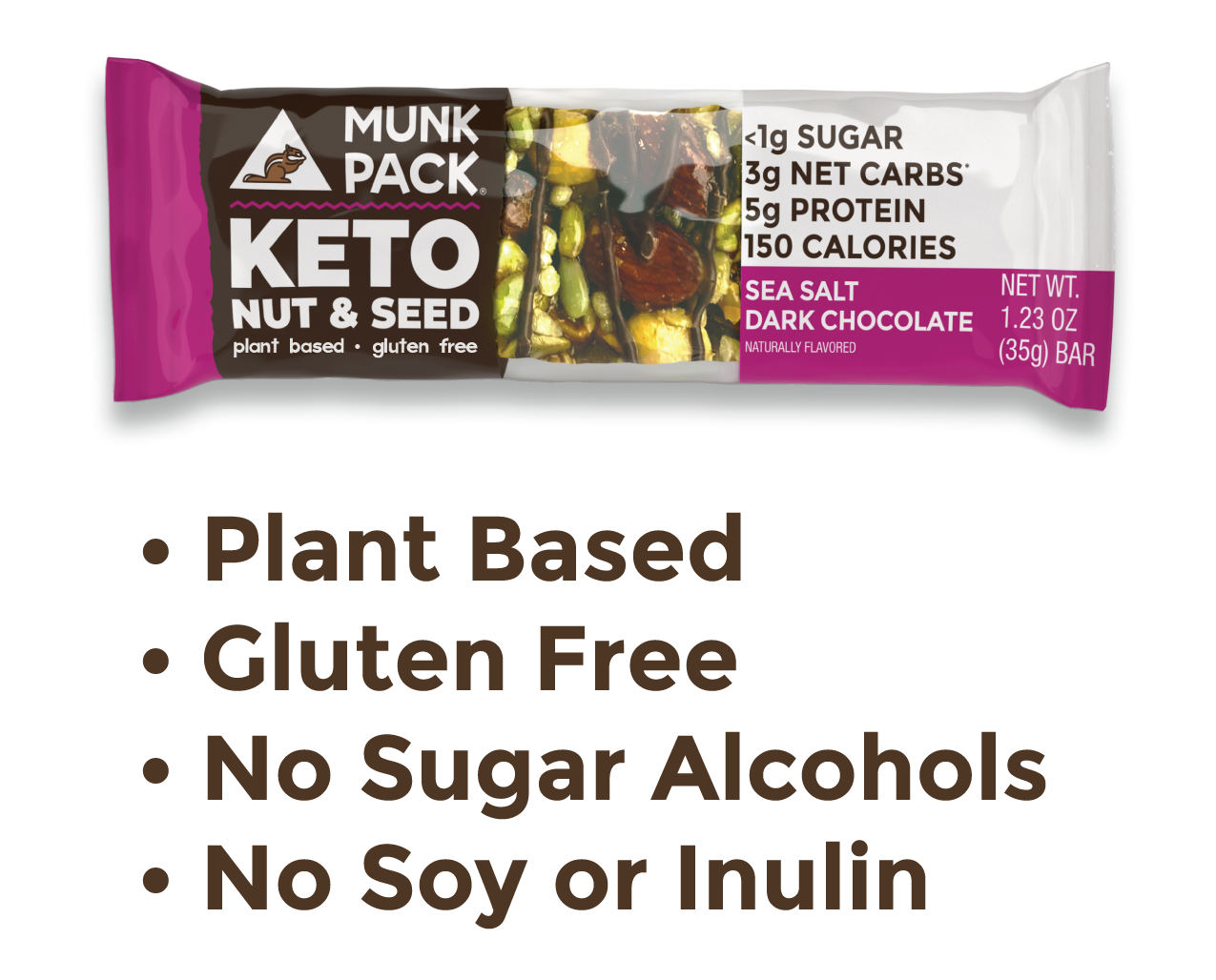 Keto Nut & Seed Bar | Plant Based, Gluten Free, No Sugar Alcohols, No Soy or Inulin