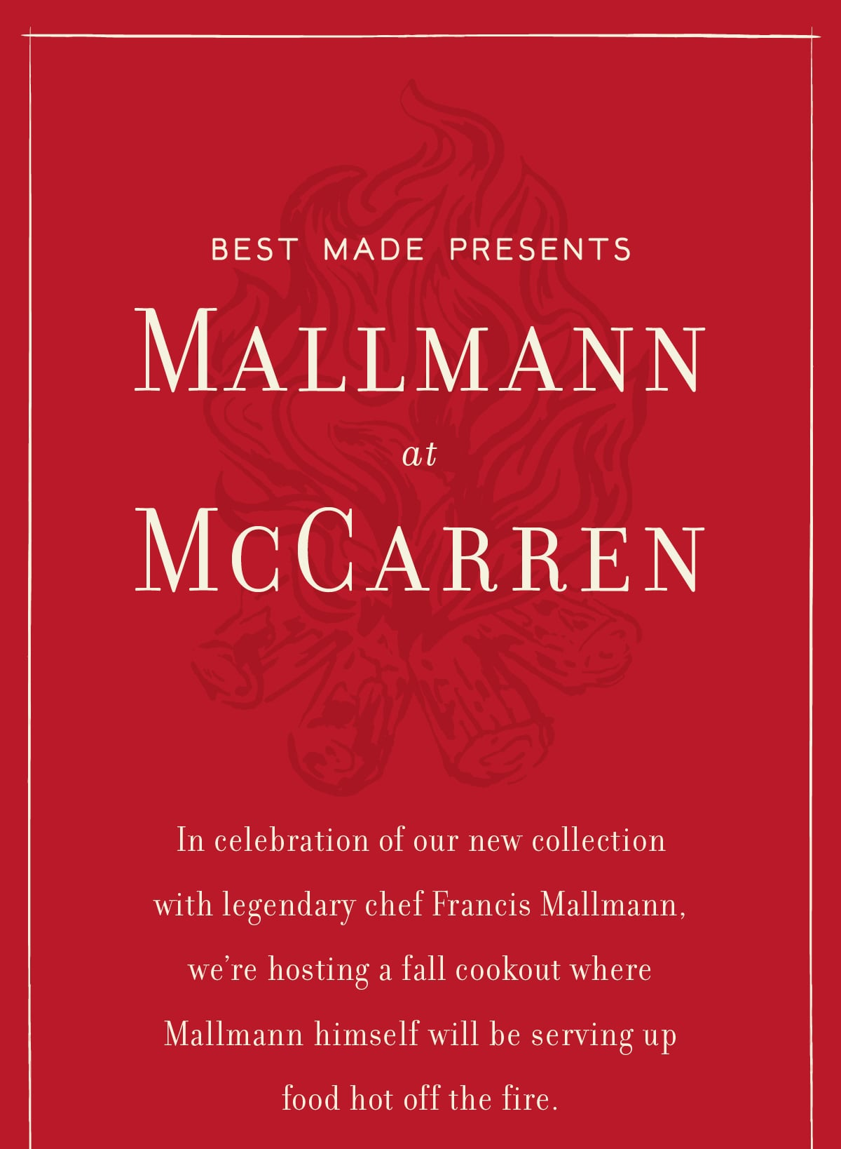 Join us at McCarren park with legendary chef Francis Mallmann on Sunday, November 17th from 12-4pm