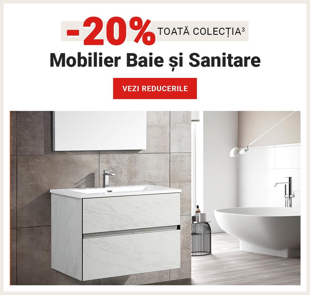 20% Reducere la toata colectia de Mobilier Baie si Sanitare