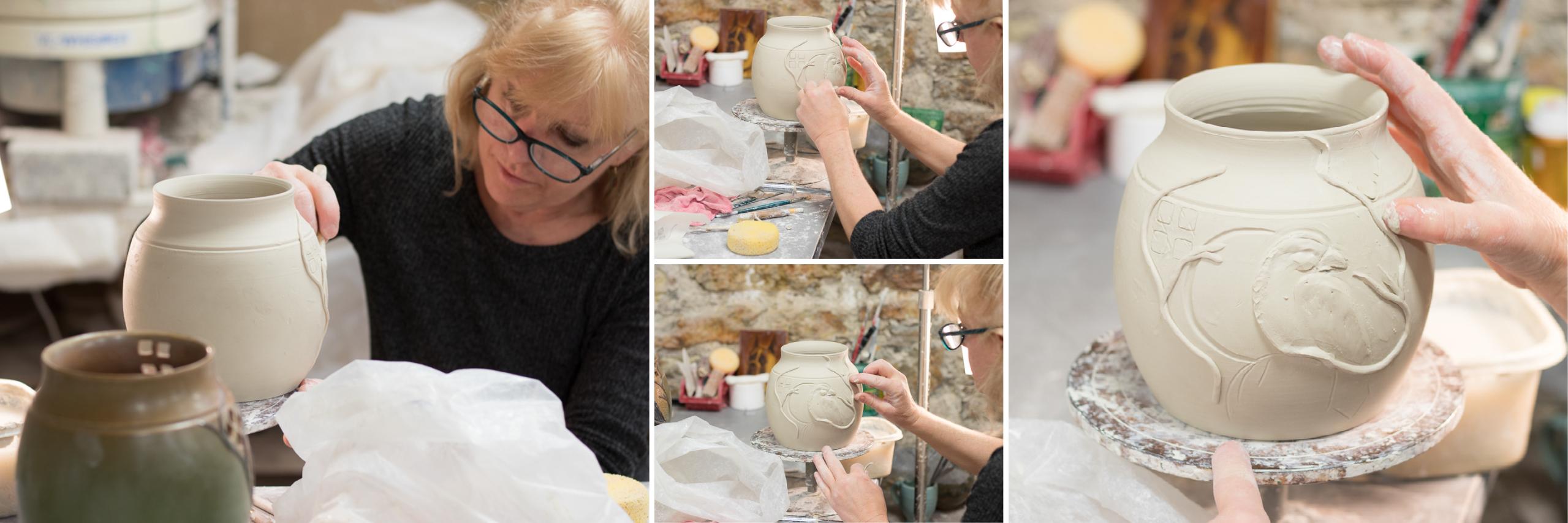 Laura sculpting Foretelling Vases