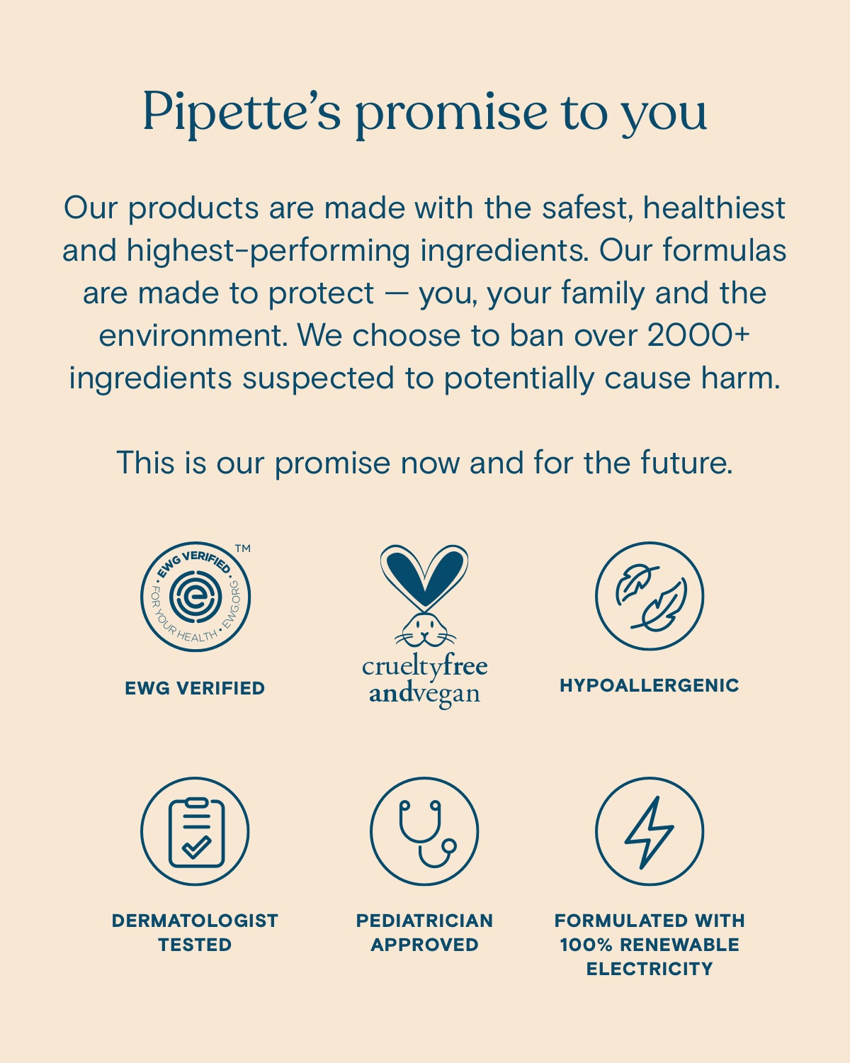 Pipette's promise to you. Our products are made with the safest, healthiest and highest-performing ingredients. Our formulas are made to protect - you, your family and the environment. We choose to ban over 2000+ ingredients suspected to potentially cause harm. This is our promise now and for the future.