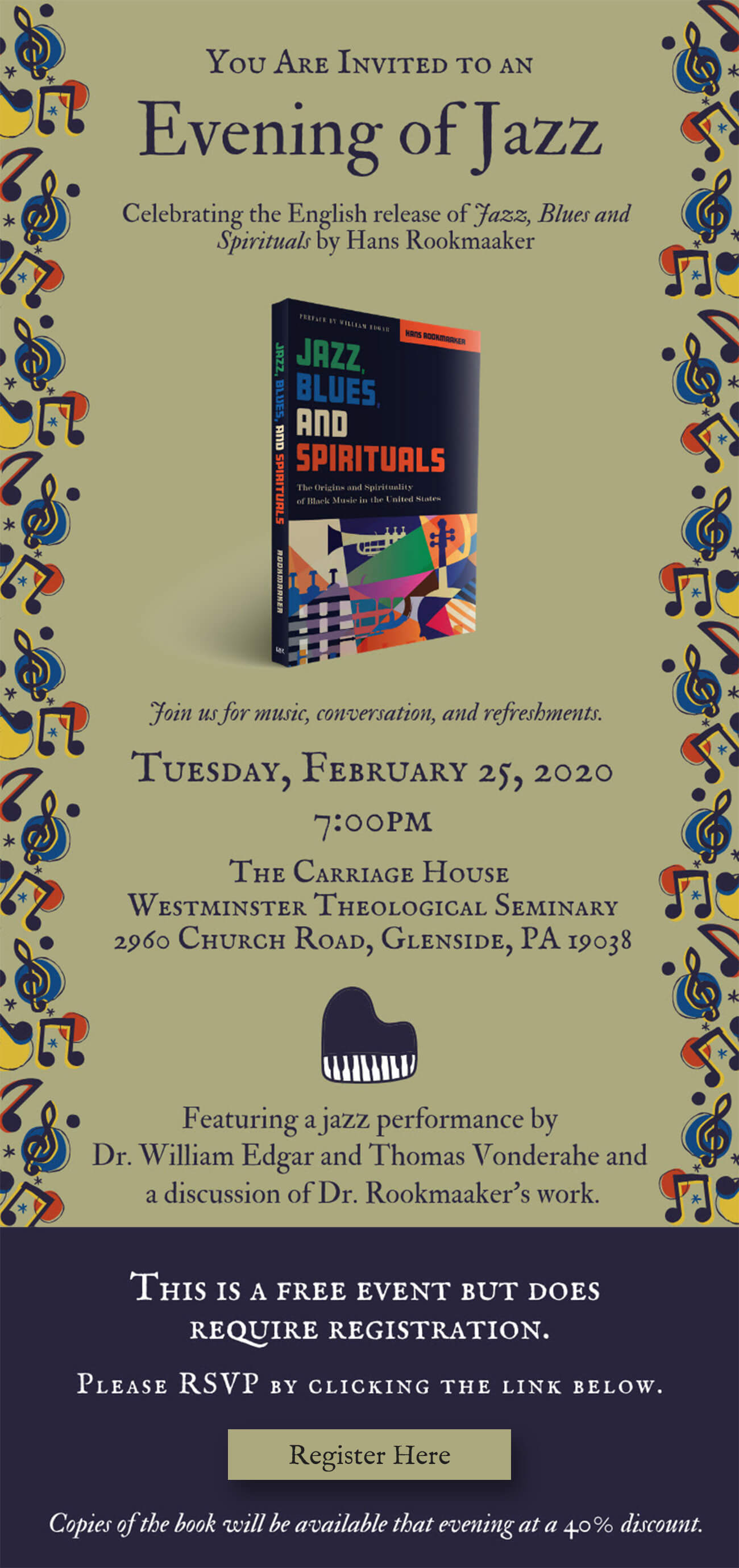 Jazz, Blues, and Spirituals event invite