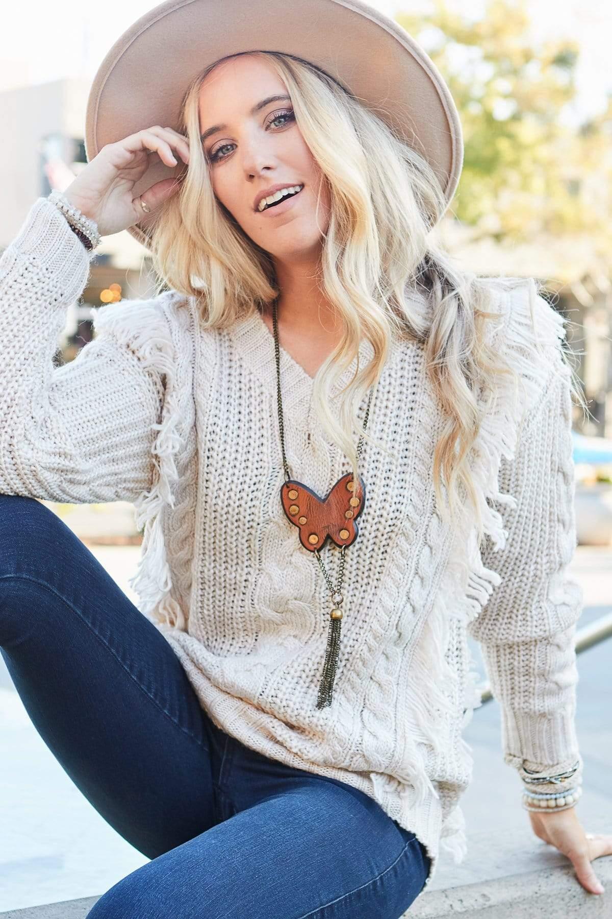 Kiley Fringe Cable Sweater