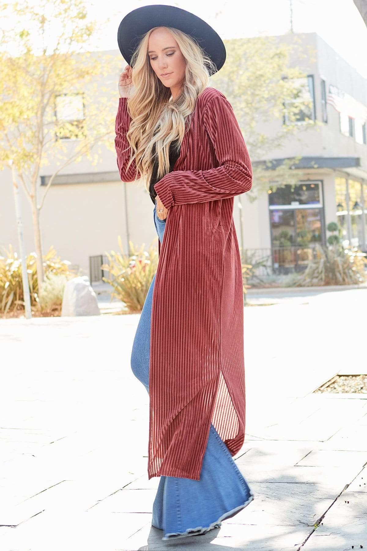 Bree Stripe Velvet Kimono Duster