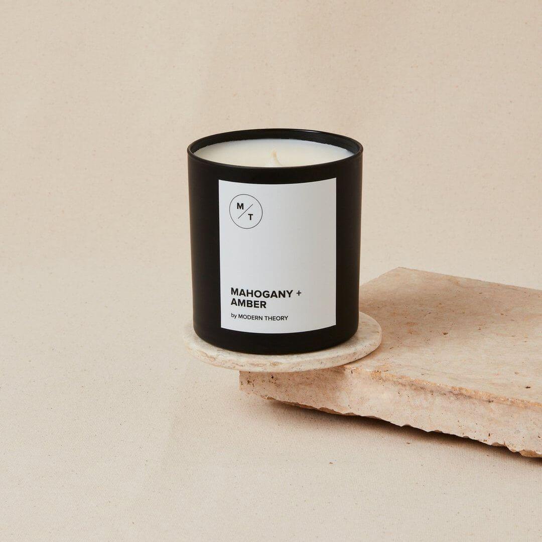 Mahogany + Amber Candle: Comforting, like warm hugs and sunshine