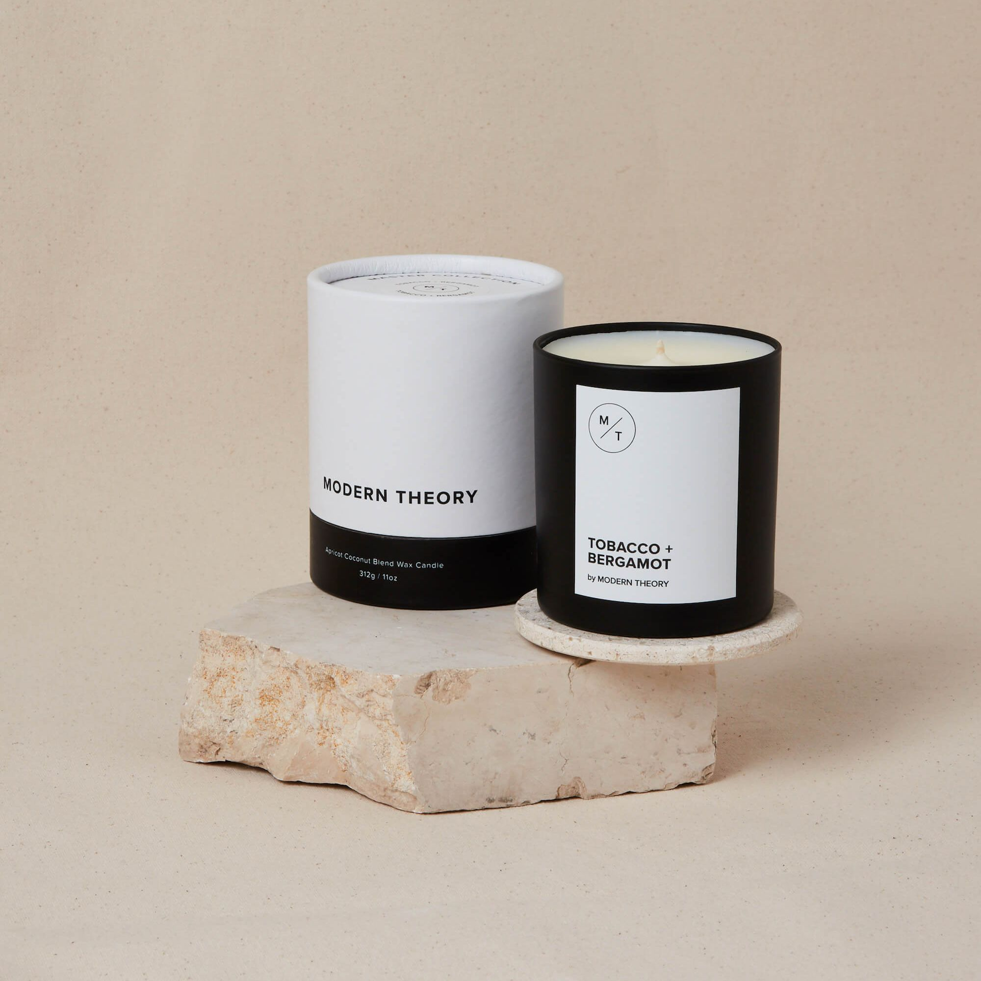 Tobacco + Bergamot Candle: Earthy; smells like sitting around a bonfire with a glass of bourbon