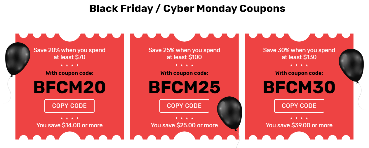 BFCM coupons