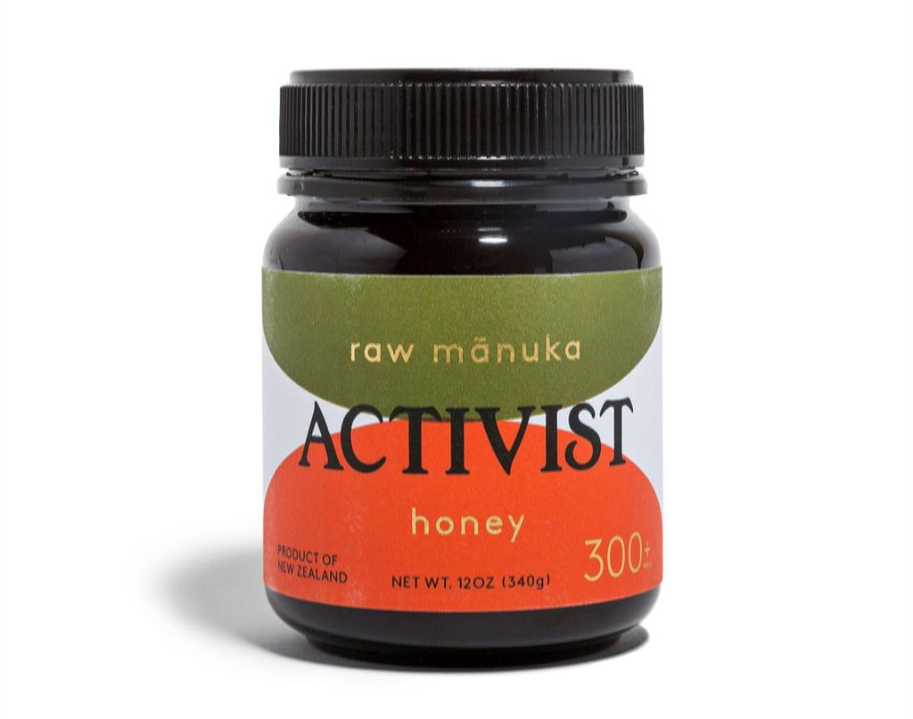 bottle of Activist raw manuka honey