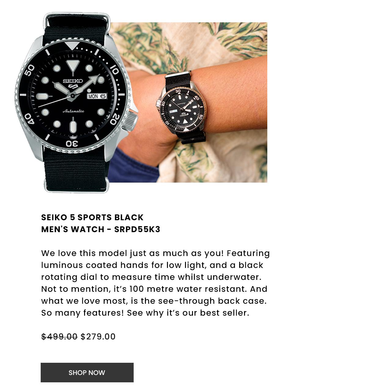 Seiko 5 Sports Black Men's Watch. Shop Now.