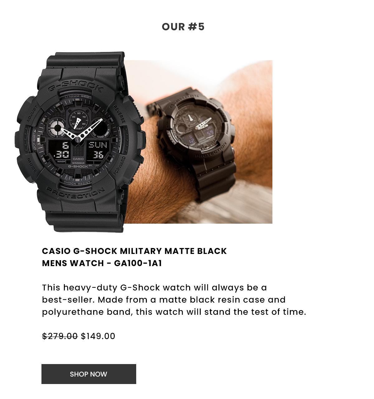 Casio G-Shock Military Matte Black Mens Watch - Ga100-1A1. Shop Now.