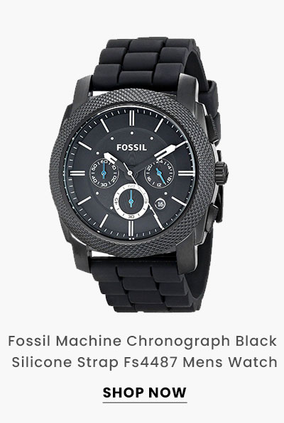 Fossil Machine Chronograph Black Silicone Strap Fs4487 Mens Watch. Shop Now.