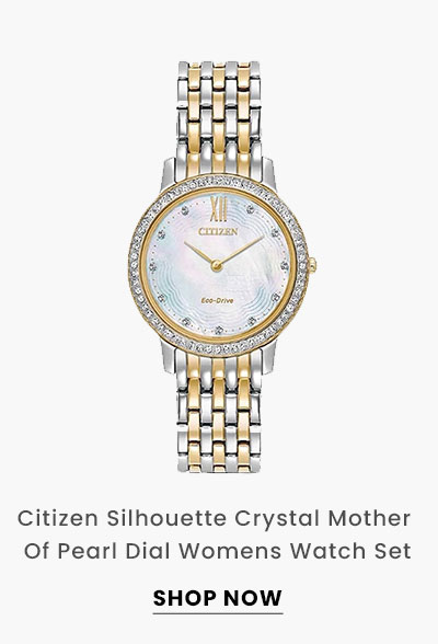 Citizen Silhouette Crystal Mother Of Pearl Dial Womens Watch Set. Shop Now.