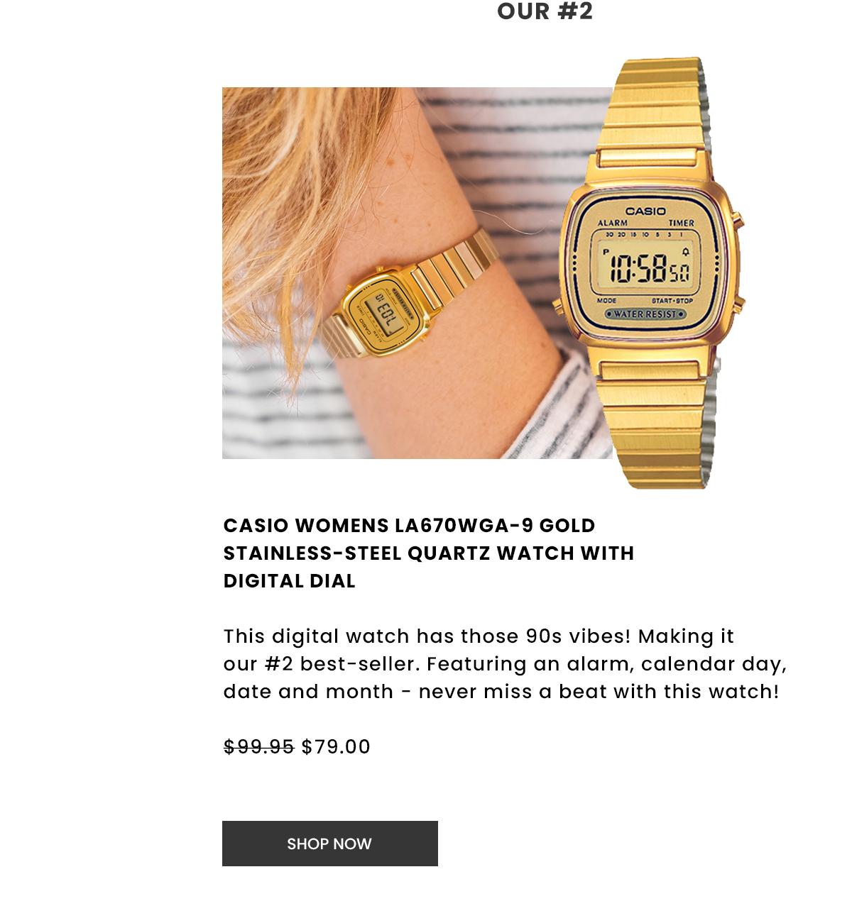 Casio Womens La670Wga-9 Gold Stainless-Steel Quartz Watch With Digital Dial. Shop Now.