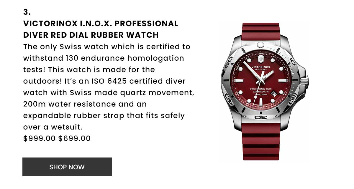 Victorinox I.N.O.X. Professional Diver Red Dial Rubber Watch. Shop Now.