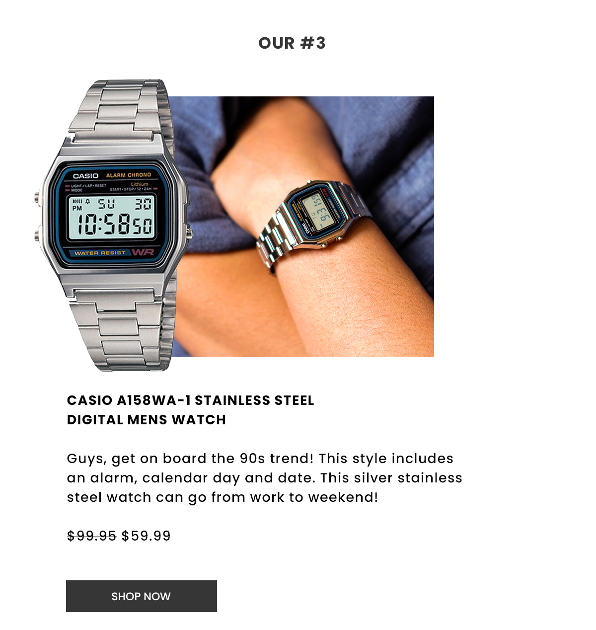 Casio A158Wa-1 Stainless Steel Digital Mens Watch. Shop Now.