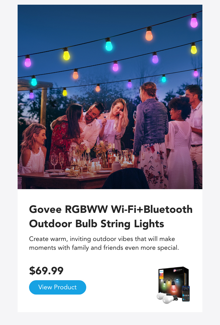 Govee RGBWW Wi-Fi & Bluetooth Outdoor Bulb String Lights