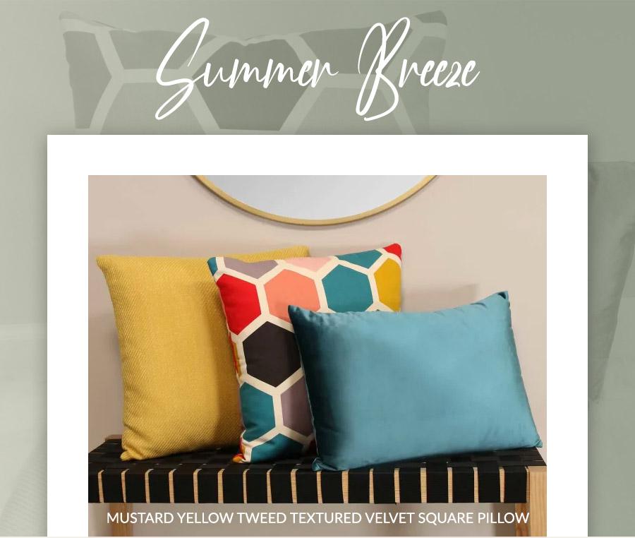Mustard Yellow Tweed Textured Velvet Square Pillow