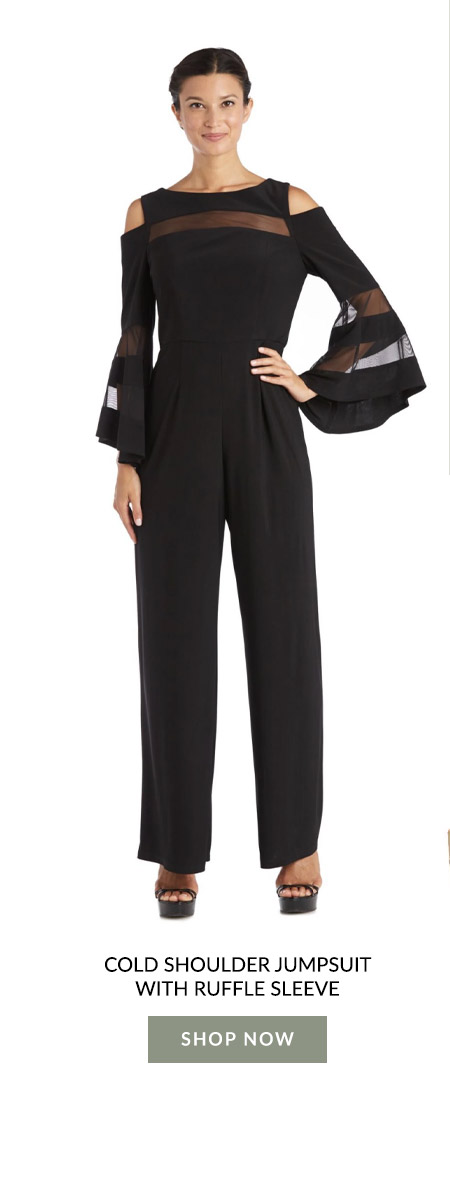 Cold Shoulder Jumpsuit with Ruffle Sleeve