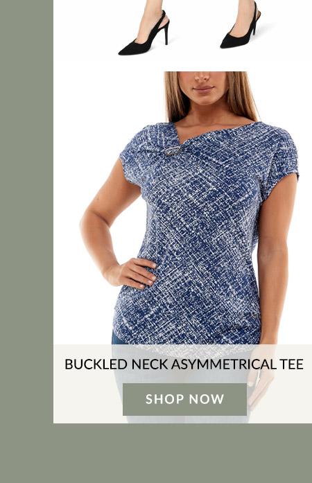 Buckled Neck Asymmetrical Tee