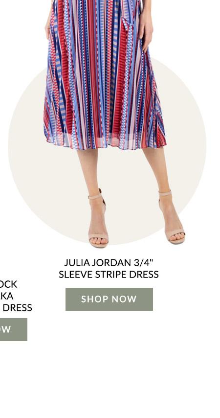 "Julia Jordan 3/4"" Sleeve Stripe Dress"