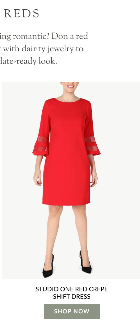 Studio One Red Crepe Shift Dress