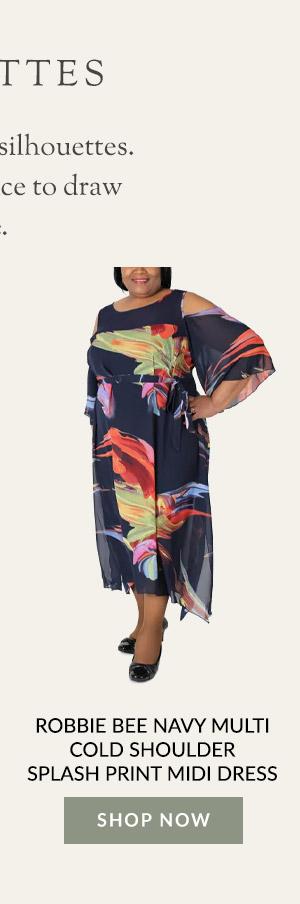 Robbie Bee Navy Multi Cold Shoulder Splash Print Midi Dress