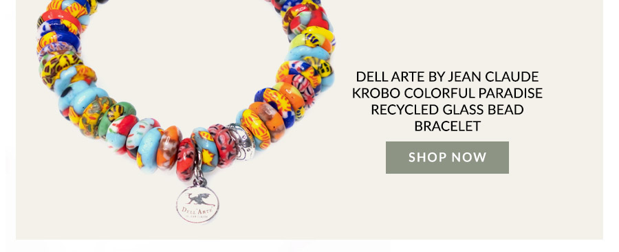 Dell Arte By Jean Claude Krobo Colorful Paradise Recycled Glass Bead Bracelet