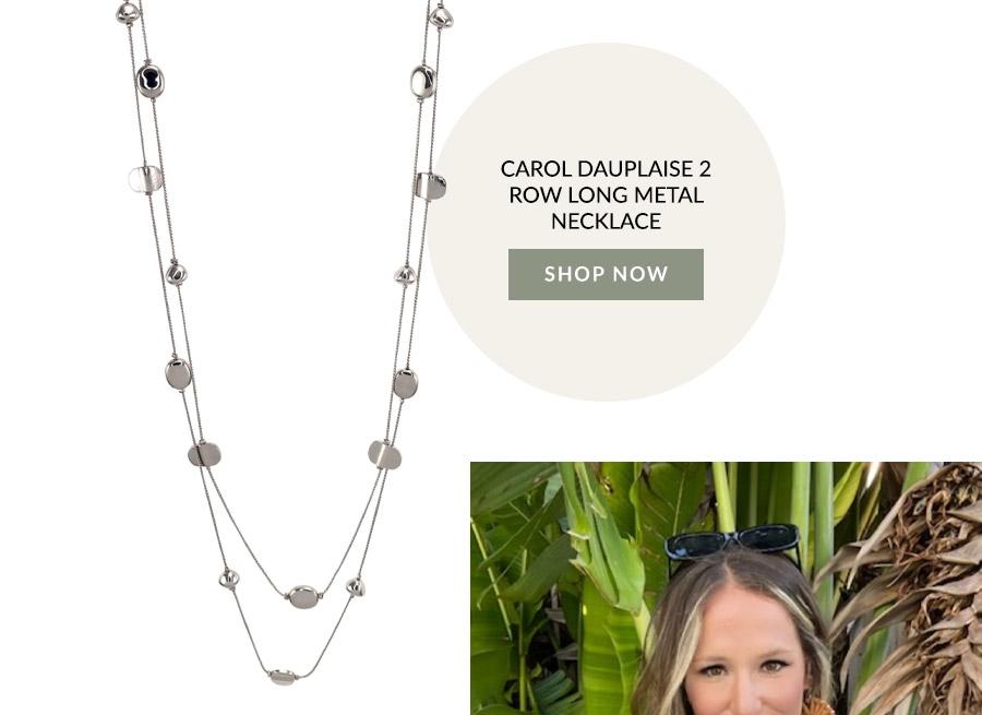 Carol Dauplaise 2 Row Long Metal Necklace
