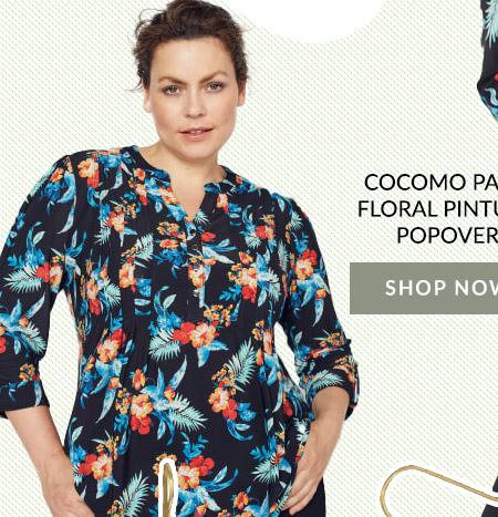 Cocomo Palm Floral Popover Blouse
