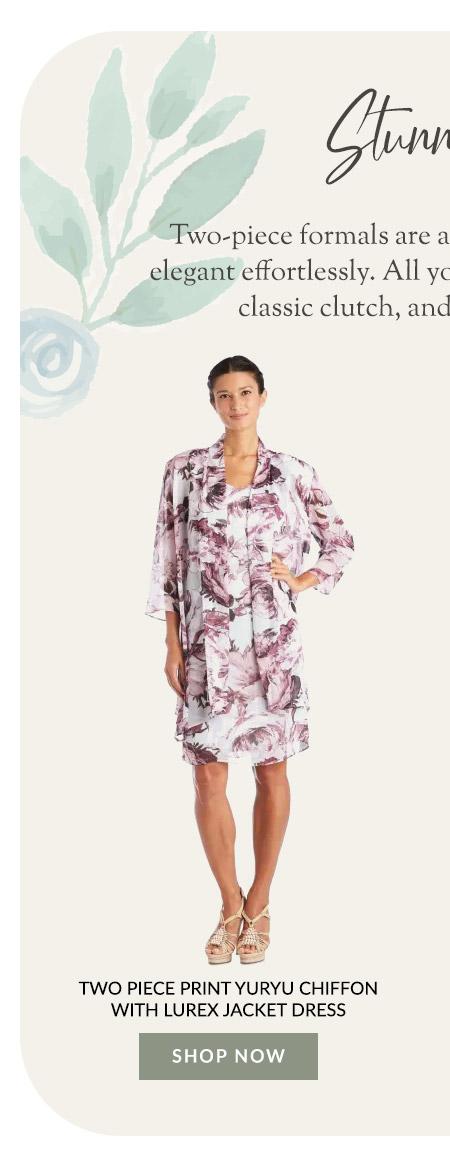 Two Piece Print Yuryu Chiffon with Lurex Jacket Dress