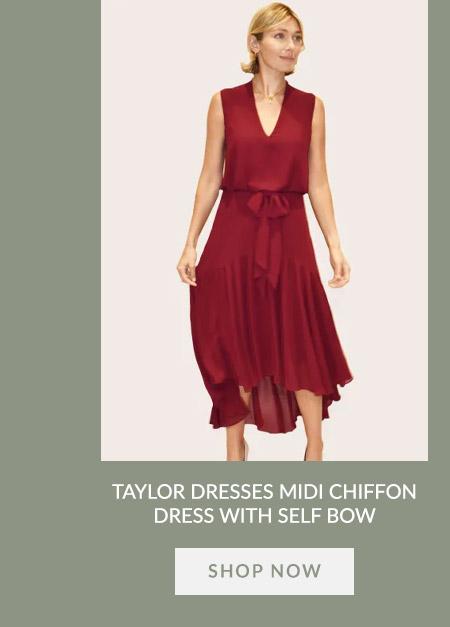 Taylor Dresses Midi Chiffon Dress With Self Bow