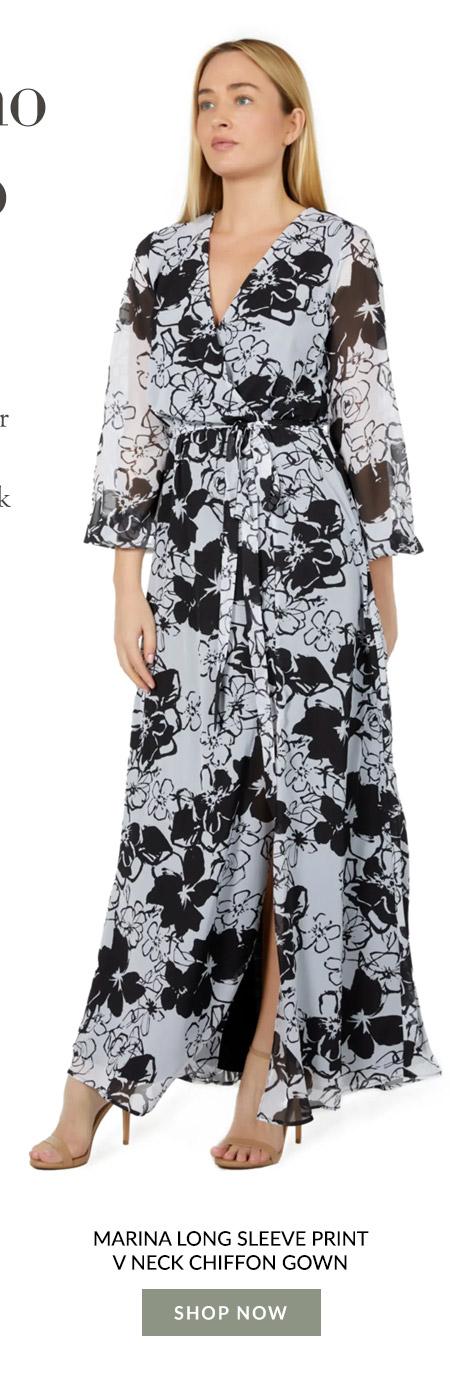Marina Long Sleeve Print V Neck Chiffon Gown