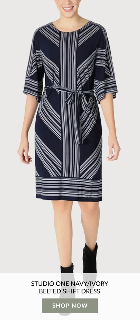 Studio One Navy/Ivory Belted Shift Dress