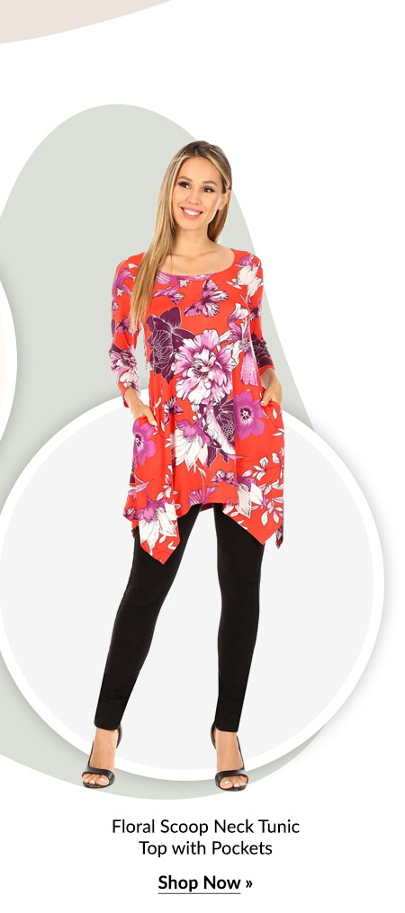 Floral Scoop Neck Tunic Top with Pockets