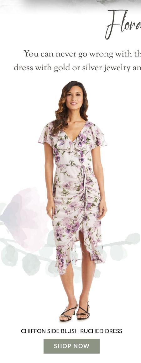 Chiffon Side Blush Ruched Dress