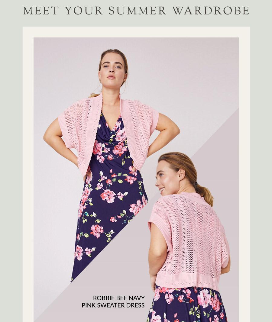 Robbie Bee Navy Pink Sweater Dress