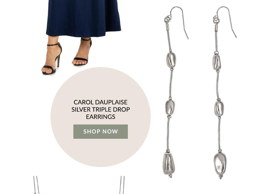 Carol Dauplaise Silver Triple Drop Earrings