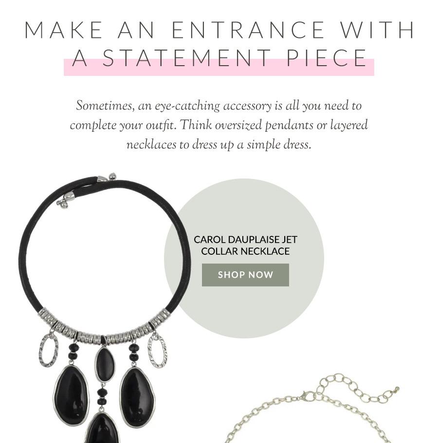 Carol Dauplaise Jet Collar Necklace
