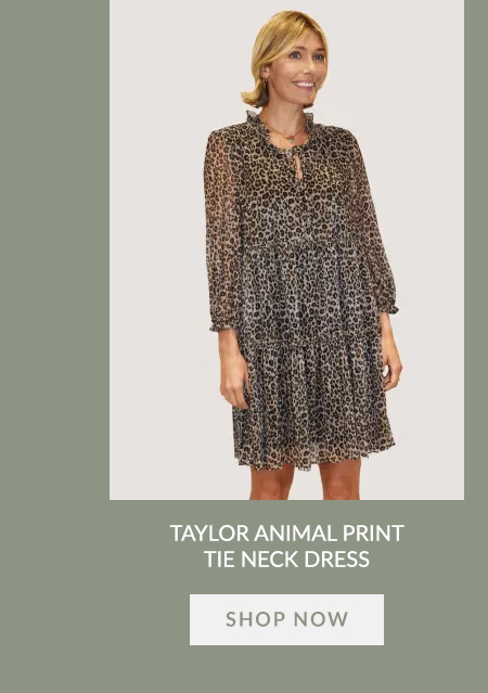 Taylor Animal Print Tie Neck Dress