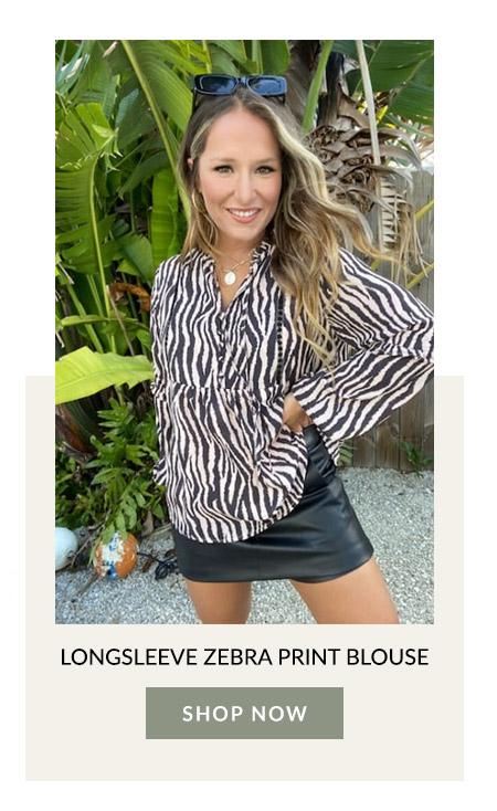 Longsleeve Zebra Print Blouse