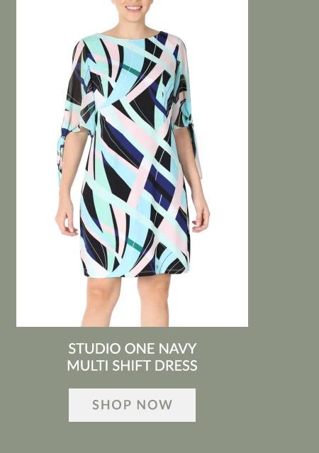 Studio One Navy Multi Shift Dress