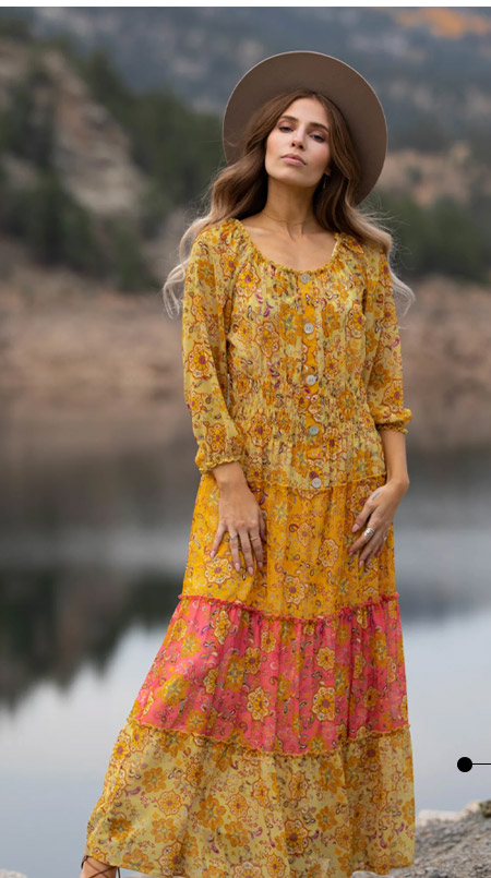 Veronica Golden Floral Maxi Peasant - Misses