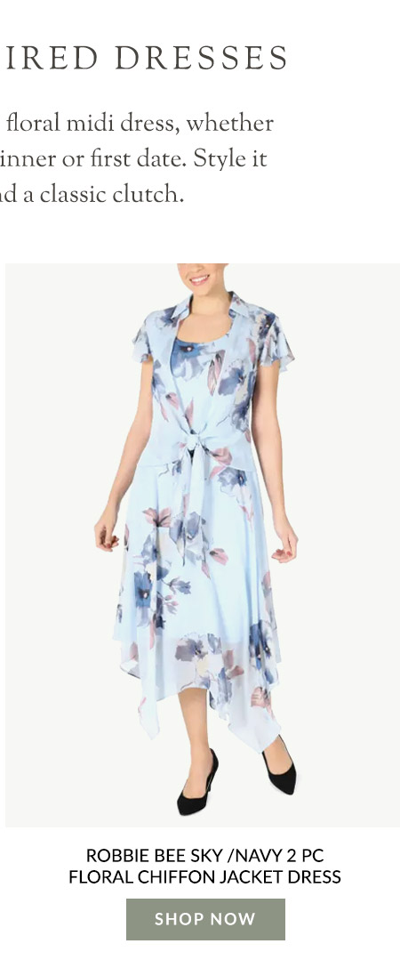 Robbie Bee Sky /Navy 2 Pc Floral Chiffon Jacket Dress