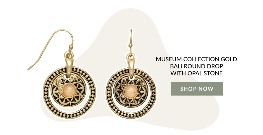 Museum Collection Gold Bali Round Drop with Opal Stone
